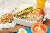 Lunchbox on the morning breakfast table with sandwiches
