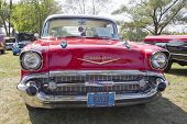 Red 1957 Chevy Bel Air Grill View