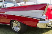 Red 1957 Chevy Bel Air Fin