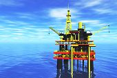 Oil Platform in the Sea and Tanker 3D render