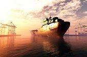 Cargo Tanker Ship Sunset Sunrise 3D render