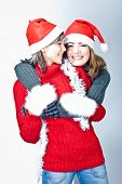 picture of wanton  - Two girls in Santa - JPG