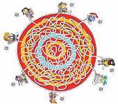 Eight Children Around Circular Carpet Maze Game