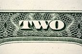 stock photo of two dollar bill  - A close of a text of two dollars bill - JPG