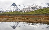 Ushuaia�s landscape with mountain reflection