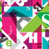 Seamless geometric alphabet retro background pattern in vector