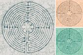 stock photo of maze  - maze in Cathedral in Chartres in three color variations - JPG
