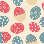 Vector Easter Seamless pattern with eggs background