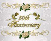 50Th Anniversary Invitation Golden Roses