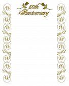 50Th Anniversary Invitation Golden Border