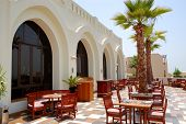 The Terrace Of Restaurant  At Luxury Hotel, Ras Al Khaimah, Uae