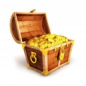 3d golden treasure chest
