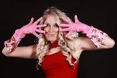 Happy Woman Wearing Latex Gloves
