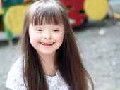 image of playground school  - Portrait of beautiful young girl on the playground - JPG