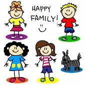 picture of gai  - Fun stick figure cartoon lesbian or gai family with two mothers little girl little boy and dog - JPG
