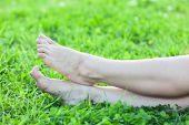 Barefooted Attractive Female Feet On Green Grass Vertical Frame
