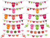 Vector Set of Baby Girl Themed Clotheslines with Storks and Birds