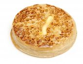 Toasted crumpet with butter.