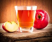 Apple Juice. Fresh Organic Ripe Apples And Glass Of Juice On Old Wooden Table
