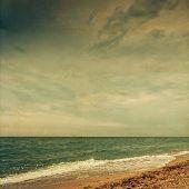 Sunset At Sea. Sailboat. Seascape. Retro Colors, Paper Grain