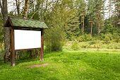 Blank Wooden Billboard In  The Forest