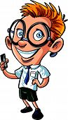 Cute cartoon nerd with mobile phone