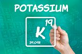 Hand drawing the symbol for the chemical element potassium