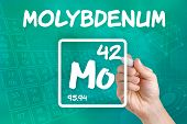 Hand drawing the symbol for the chemical element molybdenum