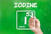 Hand drawing the symbol for the chemical element iodine
