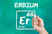 Hand drawing the symbol for the chemical element erbium