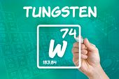 Hand drawing the symbol for the chemical element tungsten