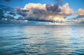 stock photo of windy weather  - Horizon sea sky storm tempest sky clouded over - JPG