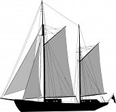 Illustration of two masted sailing ship ketch