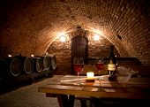 Close-up of interior in a wine cellar