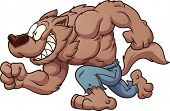 stock photo of werewolf  - Cartoon running werewolf - JPG