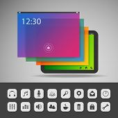 Tablet with Layers and Icons   Business Vector Illustration