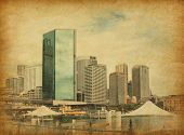 Circular Quay in retro style.  Circular Quay is a location in Sydney, New South Wales, Australia on