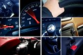 picture of meter stick  - Motorization Mosaic. Cool Mosaic Built From Details Vehicles Photography. On the Photo: Powerful Gas Engine Hand on Steering Wheel Manual Transmission Stick Shift Speedometer RPM and More. Transportation Photo Collection. Cool Blue Tones.