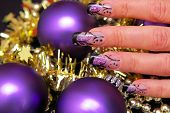 Nails with Christmas decorations