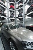 MOSCOW - JAN 11: Volkswagen Passat in the center of the multi-story automated car parking system in