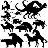 image of animals sex reproduction  - Set of illustrated silhouettes of various animals mating - JPG