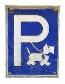 pic of scottie dog  - Isolation Of A Humorous And Grungy Dog Parking Sign - JPG