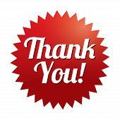 Thank you tag (vector). Red sticker. Icon for web.