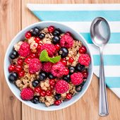 Muesli with fresh fruits.