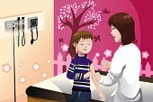stock photo of flu shot  - A vector illustration of a girl getting a flu shot by a doctor in the arm - JPG