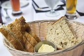 Sourdough And Herb Bread In Basket