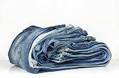 Folded Blue Denim Jeans