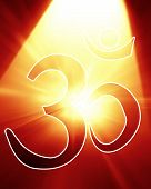 foto of nepali  - om aum symbol with a spotlight on it - JPG