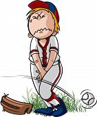 stock photo of peeing  - Cartoon of a little league baseball player that has to pee badly - JPG