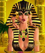 stock photo of nefertiti  - Face of a beautiful 3d woman Pharaoh with make up being applied by her servants - JPG
